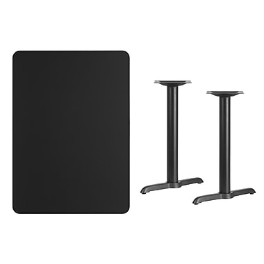 Flash Furniture 30'' x 42'' Rectangular Laminate Table Top, Black with 5'' x 22'' Table-Height Bases (XUBK3042T0522)
