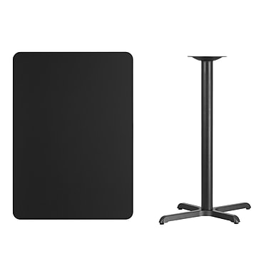 Flash Furniture 30'' x 42'' Rectangular Laminate Table Top, Black with 22'' x 30'' Bar-Height Table Base (XUBK3042T2230B)