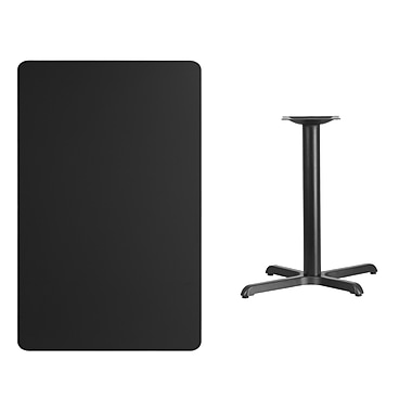 Flash Furniture 30'' x 48'' Rectangular Laminate Table Top, Black with 22'' x 30'' Table-Height Base (XUBK3048T2230)