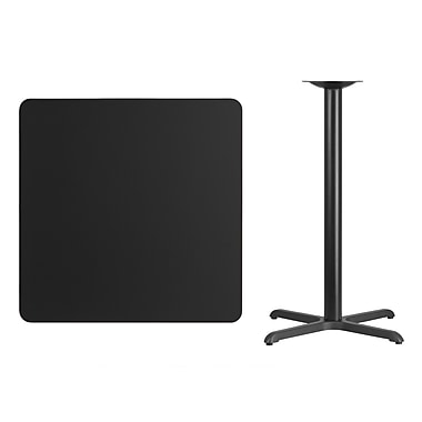 Flash Furniture 36'' Square Laminate Table Top, Black with 30'' x 30'' Bar-Height Table Base (XUBK3636T3030B)