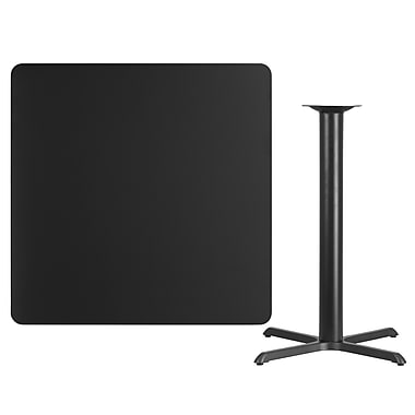 Flash Furniture 42'' Square Black Laminate Table Top with 33'' x 33'' Bar Height Table Base (XUBK4242T3333B)