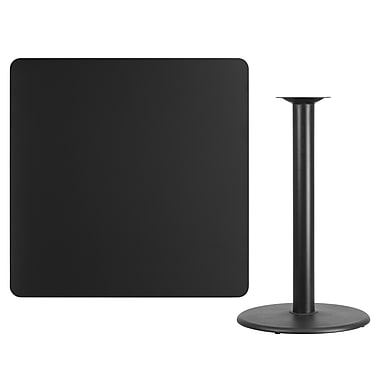 Flash Furniture 42'' Square Laminate Table Top, Black with 24'' Round Bar-Height Table Base (XUBK4242TR24B)