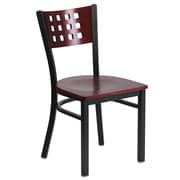 Flash Furniture  Hercules Decorative Cutout-Back Metal Restaurant Chair - Black with Mahogany Wood Back and Sea (XUDG117MAH)