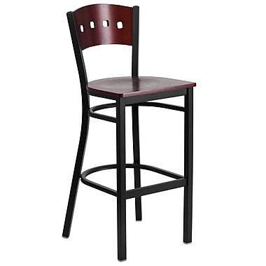 Flash Furniture HERCULES 4-Square Back Metal Restaurant Barstool, Black with Mahogany Wood Back and Seat (XUDG515MAHB)