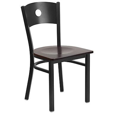 Flash Furniture – Chaise de restaurant en métal à dossier ajouré, noir, siège en noyer, 2/bte (XUDG6019CIRWALW)