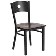 Flash Furniture  Hercules Series Black Circle Back Metal Restaurant Chair, Walnut Wood Seat, 2/Box (XUDG6019CIRWALW)