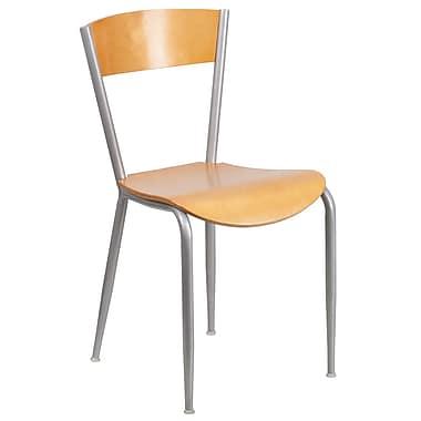 Flash Furniture – Chaise de restaurant en métal Invincible, dossier et siège en bois fini naturel (XUDG60217)