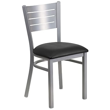 Chaise de restaurant HERCULES en acier à traverses horizontales, argenté, siège en vinyle noir, 2/bte (XUDG60401BKV)