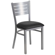 Flash Furniture Hercules Series Black Vinyl Slat Back Metal Restaurant Chair (XUDG60401BKV)