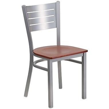 Flash Furniture – Chaise de restaurant en acier à traverses horizontales, argenté, siège en cerisier (XUDG60401CHYW)