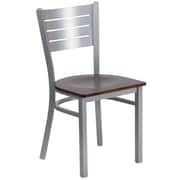 Flash Furniture  Hercules Series Slat-Back Metal Restaurant Chair, Silver with Walnut Wood Seat (XUDG60401WALW)