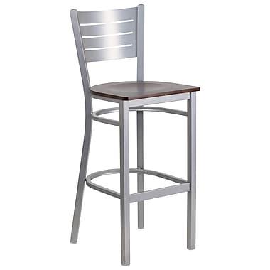 Flash Furniture Hercules Series Slat-Back Metal Restaurant Barstool, Silver with Walnut Wood Seat (XUDG60402BWAW)