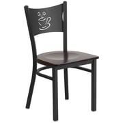 Flash Furniture  Hercules Series Black Coffee Back Metal Restaurant Chair, Walnut Wood Seat, 2/Box (XUDG6099COFWALW)
