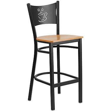 Flash Furniture – Tabouret bistro HERCULES en métal à dossier ajouré, noir, siège en bois naturel (XUDG614COFBNATW)