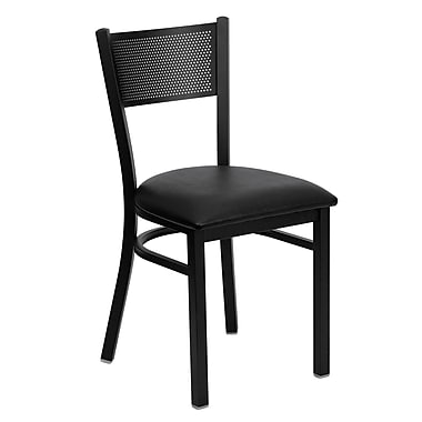Flash Furniture Hercules Series Grid-Back Metal Restaurant Chair, Black with Black Vinyl Seat (XUDG615GRDBLKV)