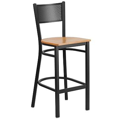 Flash Furniture Hercules Grid-Back Metal Restaurant Barstool, Black with Natural Wood Seat (XUDG616GRDBNATW)