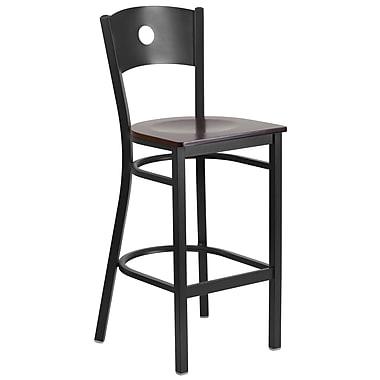 Flash Furniture – Tabouret bistro HERCULES en métal à dossier ajouré, noir, siège en noyer (XUDG620CIRBWALW)