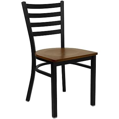 Flash Furniture – Chaise de restaurant en acier à traverses horizontales, noir, siège en cerisier (XUDG694BLADCHYW)