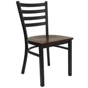 Flash Furniture  Hercules Series Black Ladderback Metal Restaurant Chair, Mahogany Wood Seat (XUDG694BLADMAHW)