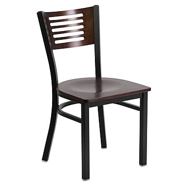 Flash Furniture Hercules Series Decorative Slat-Back Metal Restaurant Chair, Black with Walnut Wood Back and Seat (XUDG6G5WAL)