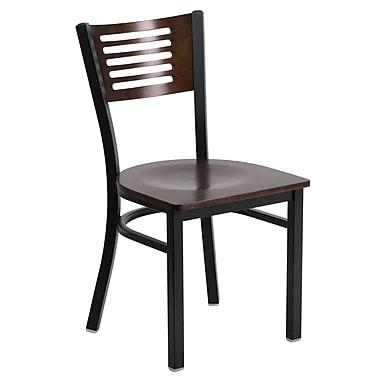 Flash Furniture – Chaise de restaurant à structure d'acier noire, dossier ajouré et siège en noyer (XUDG6G5WAL)