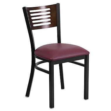 Chaise de restaurant à structure noire en acier, dossier ajouré noyer, siège en vinyle bourgogne, 2/bte (XUDG6G5WALGV)