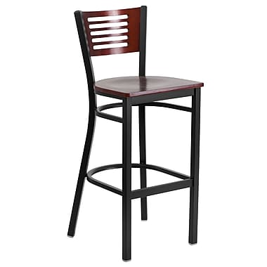 Flash Furniture Hercules Decorative Slat-Back Metal Restaurant Barstool, Black with Mahogany Wood Back and Seat (XUDG6H1BMAH)