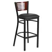 "Flash Furniture  Hercules 32"" Black Decorative Slat Back Metal Restaurant Barstool, Mahogany, Vinyl Seat, 2/Box (XUDG6H1BMAHBKV)"