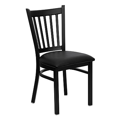 Chaise de restaurant en acier avec dossier à traverses verticales, noir, siège en vinyle noir, 2/bte (XUDG6Q2BVRTBLKV)