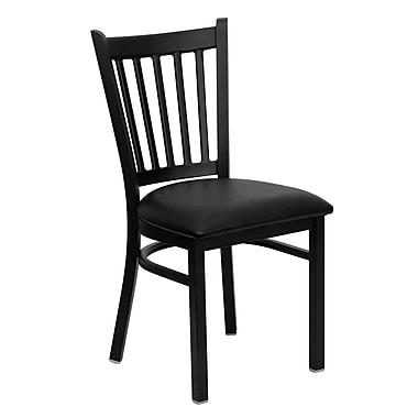 Flash Furniture Hercules Series Black Vertical Back Metal Restaurant Chair, Black Vinyl Seat, (XUDG6Q2BVRTBLKV)