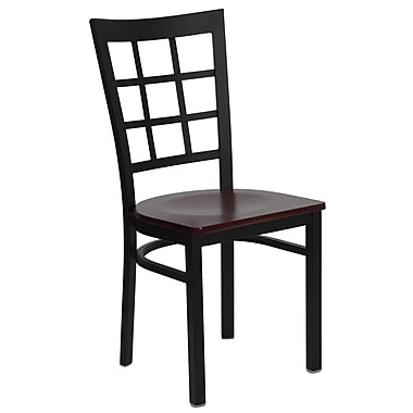 Flash Furniture Hercules Series Black Window Back Metal Restaurant Chair, Mahogany Wood Seat (XUDG6Q3BWINMAHW)
