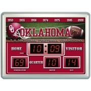 Team Sports America NCAA ScoreBoard Wall Clock with Thermometer; Oklahoma