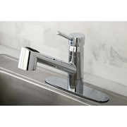 Kingston Brass Wilshire Gourmetier Single Handle Pull-Out Spray Kitchen Faucet; Polished Chrome