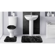 Popular Bath Products Fluff 3 Piece Bath Rug Set; Black