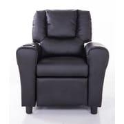Mochi Furniture PU Leather Comfortable Kids Recliner; Black