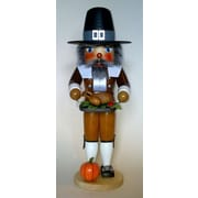 PinnaclePeak Pilgrim Man with Turkey German Wood Thanksgiving Day Nutcracker