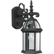 Forte Lighting One Light Outdoor Wall Lantern w/Clear Beveled Shade in Black; 8'' H x 16'' W x 9'' D