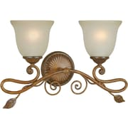 Forte Lighting Two Light Bath Vanity with Umber Glass Shade in Rustic Sienna