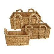WaldImports 3 Piece Rectangle Home Decor Basket Set