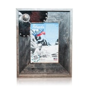 Recherche Natural Cowhide Reclaimed Decorative Old Silver Star Picture Frame; 5'' x 7''
