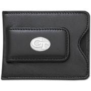 LogoArt  NCAA Logo Black Leather Money Clip / Credit Card / ID Holder; Georgia Tech