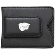 LogoArt  NCAA Logo Black Leather Money Clip / Credit Card / ID Holder; Kansas State University