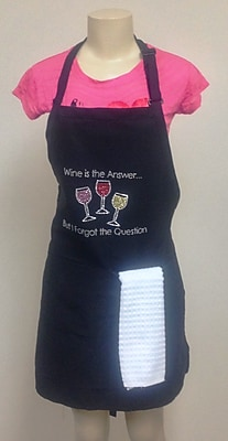 Kaufman Sales Wine Is The Answer Rhinestone Printed Apron