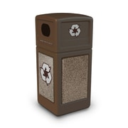 Commercial Zone Products® Green Zone Series Recycle42 StoneTec® Recycling Container, Brown with Riverstone (72235599)