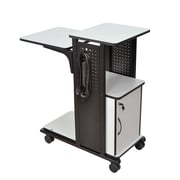 H. Wilson 4-Shelf Mobile Presentation Station AV Cart w/ Cabinet
