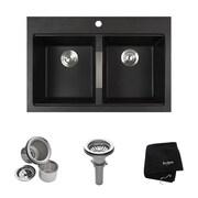 Kraus 33.5'' x 22'' Dual Mount 50/50 Double Bowl Granite Kitchen Sink