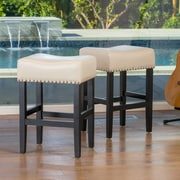 Home Loft Concepts Lisette 26'' Bar Stool with Cushion (Set of 2); Ivory