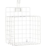 Urban Trends Metal Wall Shelf with Mesh Sides Hook and Card Holder; White