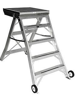 Jarvis Industries 4.33 ft Aluminum Model 8 Podium Rolling Ladder w/ 200 lb. Load Capacity; Aluminum WYF078277668111