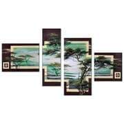 DesignArt Modern African Landscape Tree 4 Piece Original Painting on Canvas Set